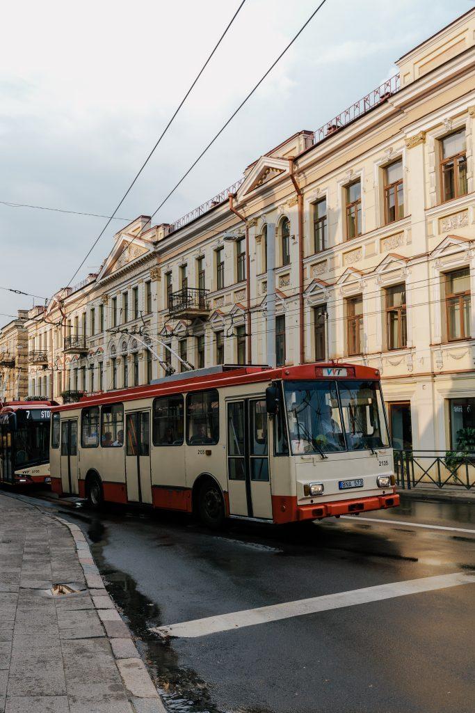 Bus in Vilnius old Town